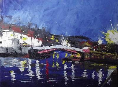 Seafarer Painting - Harbour By Night by Michael Smith