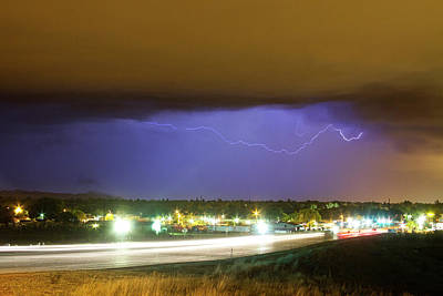 Hard Rain  Lightning Thunderstorm Over Loveland Colorado Print by James BO  Insogna