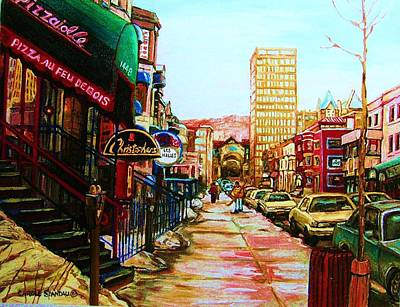Montreal Street Life Painting - Hard Rock Cafe  by Carole Spandau
