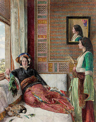 African Erotic Painting - Harem Life  Constantinople by John Frederick Lewis