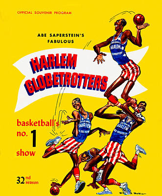 Meadowlark Painting - Harlem Globetrotters Vintage Program 32nd Season by Big 88 Artworks