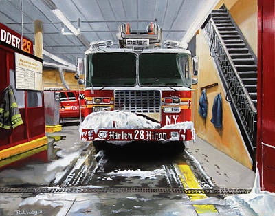 Firefighter Painting - Harlem Hilton Ladder 28 by Paul Walsh