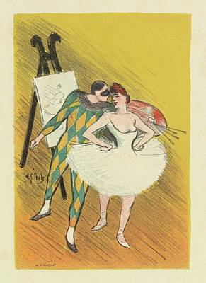 Pierrot Painting - Harlequin And Columbine by Henri Gabriel Ibels