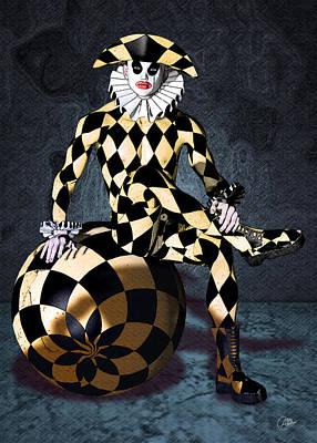 Harlequin Circus Mime Print by Quim Abella