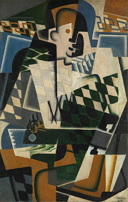 With Guitar Painting - Harlequin With A Guitar by Juan Gris