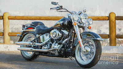 Two Tailed Mixed Media - Harley Davidson Deluxe  by Garland Johnson