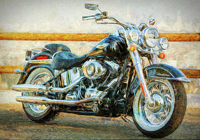 Two Tailed Mixed Media - Harley Davidson Deluxe Three by Garland Johnson