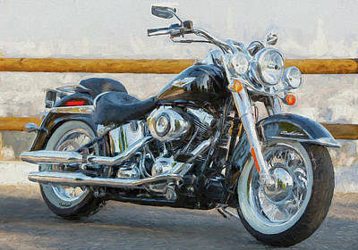 Two Tailed Mixed Media - Harley Davidson Deluxe Two by Garland Johnson