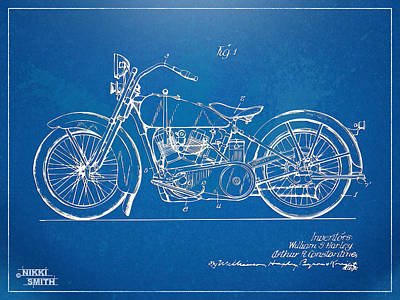 Blueprint Digital Art - Harley-davidson Motorcycle 1928 Patent Artwork by Nikki Marie Smith