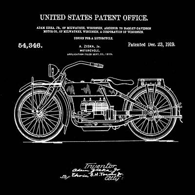 Harley Drawing - Harley Davidson Motorcycle Patent 1919 In Black by Bill Cannon