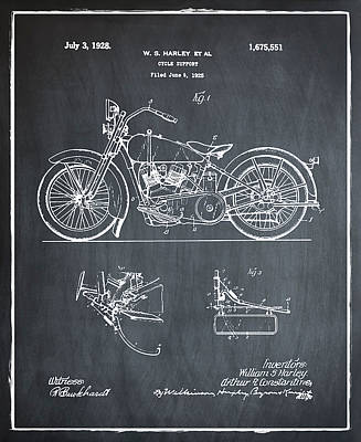 Harley Photograph - Harley Davidson Motorcycle Patent 1928 Chalk by Digital Reproductions