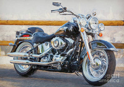Two Tailed Mixed Media - Harley Davidson Soft Tail Iv by Garland Johnson