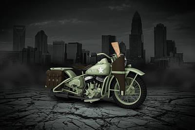 Harley Davidson Wla 1942 City Print by Aged Pixel