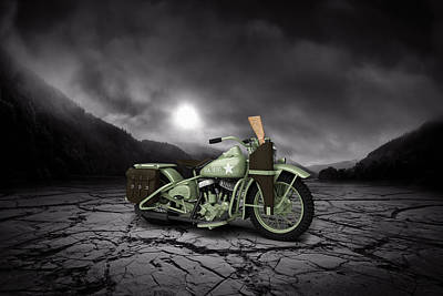 Harley Davidson Wla 1942 Mountains Print by Aged Pixel