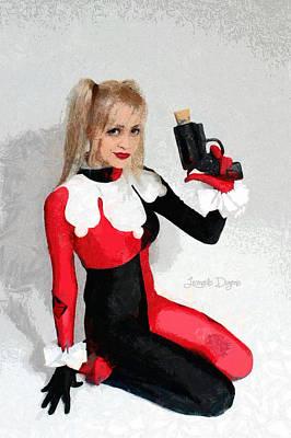 Hammer Digital Art - Harley Quinn And Pistol - Da by Leonardo Digenio