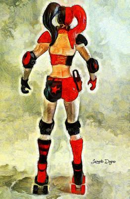 Boxing Digital Art - Harley Quinn Back - Da by Leonardo Digenio