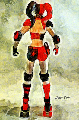 Margot Painting - Harley Quinn Back - Pa by Leonardo Digenio