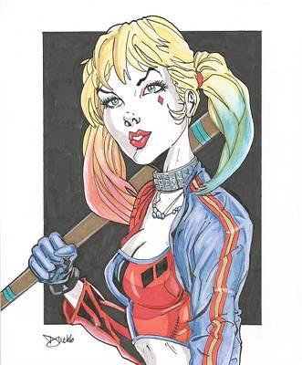 Dc Comics Drawing - Harley Quinn by David Webb