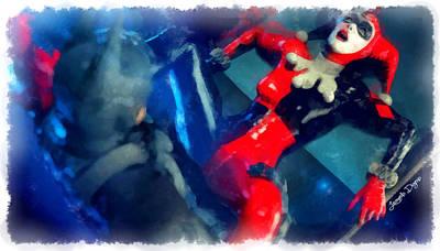 Harley Digital Art - Harley Quinn Fighting Batman  - Aquarell Style -  - Da by Leonardo Digenio