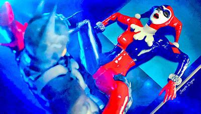 Asylum Digital Art - Harley Quinn Fighting Batman  - Vivid Aquarell Style -  - Da by Leonardo Digenio