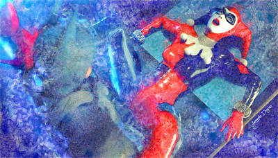 Batman Digital Art - Harley Quinn Fighting Batman  - Watercolor Style -  - Da by Leonardo Digenio