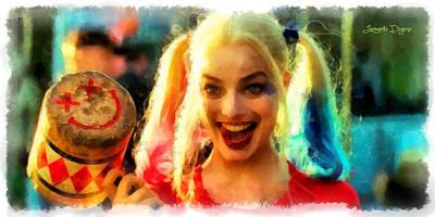 Joker Digital Art - Harley Quinn Happy - Da by Leonardo Digenio