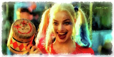 Margot Painting - Harley Quinn Happy by Leonardo Digenio