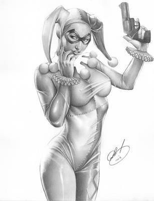 Pin Drawing - Harley Quinn by Pete Tapang