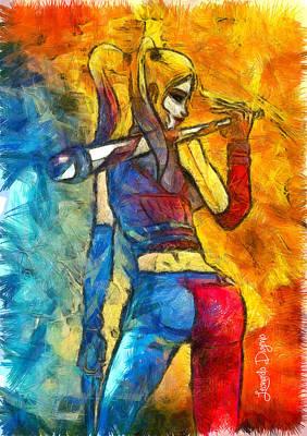 Comic Book Painting - Harley Quinn Spicy - Pencil Style by Leonardo Digenio