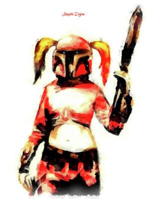Margot Painting - Harley Quinn Trooper - Aquarell Style by Leonardo Digenio