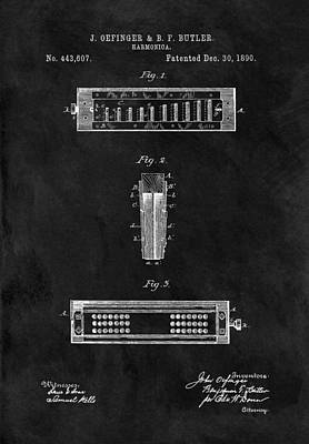 Chord Mixed Media - Harmonica Patent Illustration by Dan Sproul