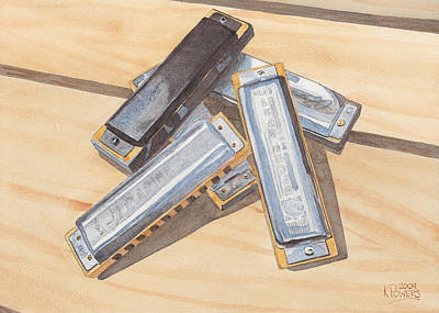 Harmonica Painting - Harmonica Pile by Ken Powers