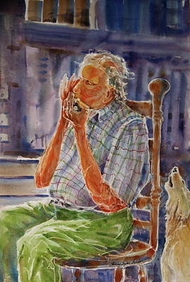 Harmonica Player And A Howler Print by Shirley Sykes Bracken