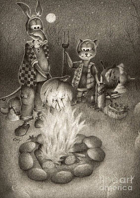 Buddy Drawing - Harold And Friends Autumn by Emily Wickerham