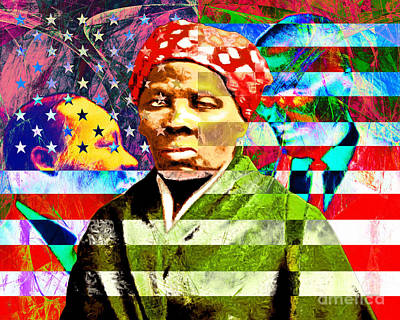 Harriet Tubman Martin Luther King Jr Malcolm X American Flag Print by Wingsdomain Art and Photography