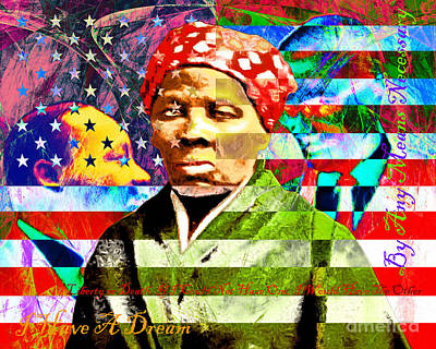 Harriet Tubman Martin Luther King Jr Malcolm X American Flag With Text Print by Wingsdomain Art and Photography