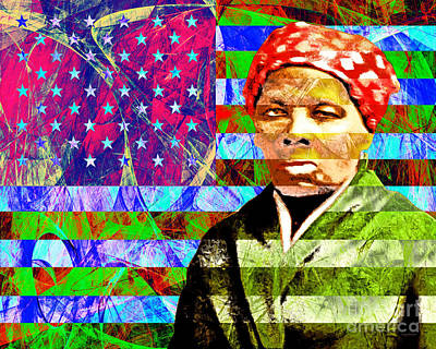 Harriet Tubman Underground Railroad American Flag 20160422 Print by Wingsdomain Art and Photography