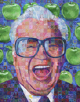 Wrigley Field Painting - Harry Caray With Green Apples by Randal Huiskens