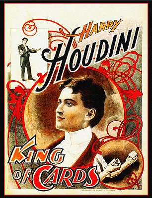 Harry Houdini - King Of Cards Print by Digital Reproductions