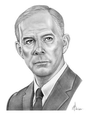 Famous People Drawing - Harry Morgan by Murphy Elliott