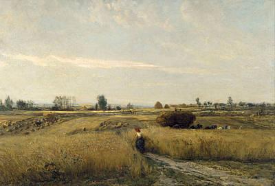 Daubigny Painting - Harvest by Charles-Francois Daubigny