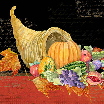 Upscale Painting - Harvest Cornucopia Of Blessings - Pumpkin Pomegranate Grapes Apples by Audrey Jeanne Roberts