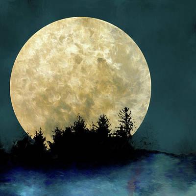 Lunar Digital Art - Harvest Moon And Tree Silhouettes by Carol Leigh
