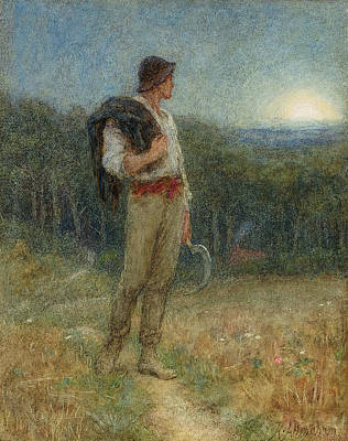 Farm Fields Painting - Harvest Moon by Helen Allingham