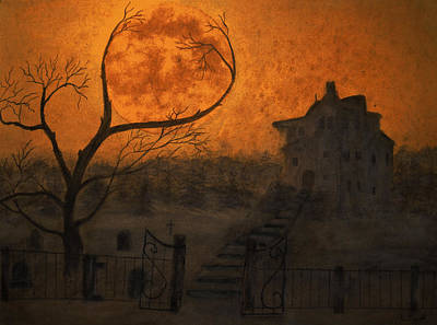 Haunted House Painting - Harvest Moon by Ken Figurski
