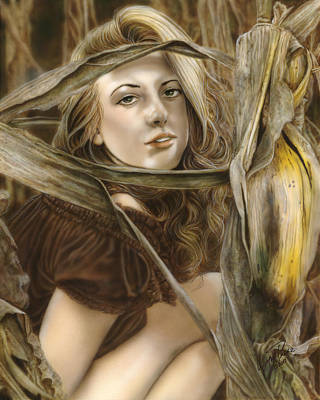 Earth Tones Painting - Harvest Nymph by Wayne Pruse