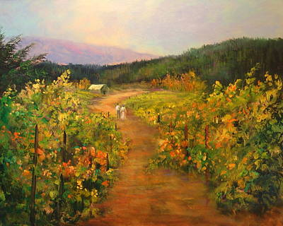 Pastoral Vineyards Painting - Harvest Walk by Sally Seago