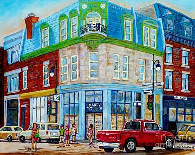 Store Fronts Painting - Harry Toulch Optometrist Heritage Montreal Landmark Rue St Laurent Street Scene Canadian Art        by Carole Spandau