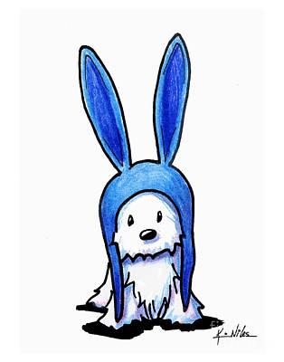Rabbit Drawing - Rabbit Ears Westie by Kim Niles