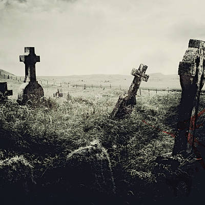 Graveyard Mixed Media - Haunted Graveyard by Brandi Fitzgerald